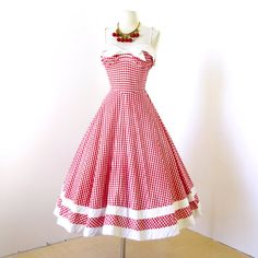Items similar to SOLD vintage dress .classic ORIGINAL DESIGN red gingham cotton shirred bust full skirt pin-up starlet summer sun party dress on Etsy Pin Up Dresses, Dress Me Up, Pink Dress, Summer Dresses, Short Dresses, 1950s Fashion, Vintage Fashion, Vintage Style, Vintage 1950s Dresses