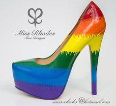Ladies women's unisex LGBT gay pride celebration rainbow shoes pumps high heel stilettos hand painted colour drip beautiful drag queen Rainbow Shoes, Rainbow Outfit, Stilettos, High Heels, Pumps, Drag Queen Heels, Pride Outfit, Drag Queens, Painted Shoes