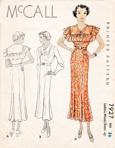 1930s 30s dress McCall 7927 Vintage Sewing Pattern 2 styles long or short sleeves ruffles bust 34 repro