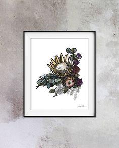 Protea print Flower art Printable art Instant download Protea flower Floral art Watercolor print Protea art Instant download art Wall decor