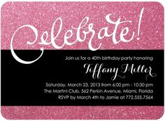 Sparkly Celebration - Adult #Birthday Party Invitations - Coloring Cricket - Sassy Pink and glitter design.
