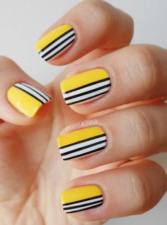 Black and White Stripes on a Yellow Base