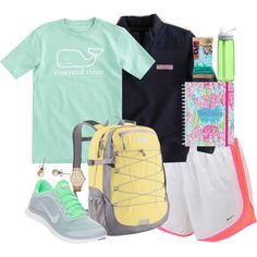 A fashion look from September 2013 featuring NIKE, mesh shoes and The North Face. Browse and shop related looks. Cute Gym Outfits, Sporty Outfits, College Outfits, Athletic Outfits, School Outfits, Preppy Southern, Southern Prep, Southern Shirt, Southern Marsh