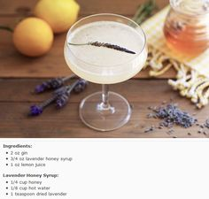 Lavender bees knees cocktail - a specialty drink to serve in CO.  Will tie into the honey favor theme. http://honestlyyum.com/1368/lavender-bees-knees/