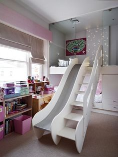 Built in bed with loft and slide for a freakin' fantastic kids' room! Girls Bed Room Ideas, Kid Bedrooms, Loft Bedroom Kids, Cool Rooms For Girls, Bedroom Decor For Kids, Rich Girl Bedroom, Cute Stuff For Girls, Girl Kids Room, Toddler Girl Bedrooms