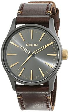 Men's Wrist Watches - Nixon Mens Sentry 38 A377595 Brown Leather Quartz Watch -- You can get additional details at the image link.