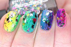 Neon sparkly rainbow nail art