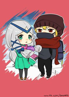 from Mobile legends Chibi Hayabusa and Kagura Mobile Legend Wallpaper, Hero Wallpaper, Mobiles, Legend Drawing, Alucard Mobile Legends, Cute Couple Shirts, Preppy Stickers, The Legend Of Heroes, Couple