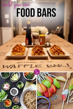 """Whether you're planning a baby shower, a bridal shower, a wedding, a kid's birthday party, a dinner party, or even just a family movie night the latest way to impress your guests is to get creative with a DIY food station. We've rounded up 26 of the most fabulous """"Build Your Own"""" food bars we could find, so all you have to do is decide which one will wow your guests the most!"""