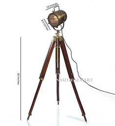 Tripod Floor Lamp Brass Antique Finish Search Light by NauticalMart Industrial Floor Lamps, Brass Floor Lamp, Tripod Lamp, Vintage Industrial, Lights, Amazon, Antiques, Search, Home Decor