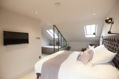 Conley & Co - Loft conversion - Balham, London. House renovation and interior design. Master bedroom with ensuite and walk-in wardro. Attic Master Bedroom, Attic Bedroom Designs, Attic Bedrooms, Bedroom With Ensuite, Bedroom Layouts, Bedroom Loft, Bedroom Wardrobe, En Suite Bedroom, Design Bedroom