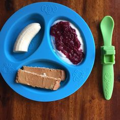BREAKFAST.  Plain whole yogurt with homemade pearberry sauce, (recipe here #babymealtimepearberry ) half a banana, toast with peanut butter. .  . Plate and spoon by @oogaababy . . . . #blw #babyledweaning #babymealtime #oogaababy #oogaalove #toddlerfood #babyfood #yum #breakfast #themostimportantmealoftheday #meal #blwinspiration #baby #food #toddler