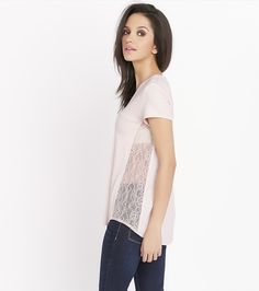 We're absolutely falling in lace with this V-neck tee.