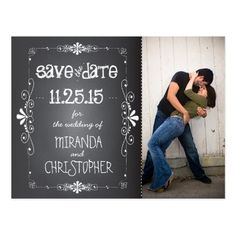 Chalkboard Wedding Save the Date Photo Chalkboard Save the Date Wedding Postcard