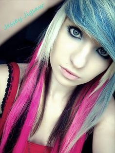 Blonde, pink, and blue hair :)