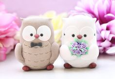 Owls wedding cake toppers - bride and groom personalized elegant love birds