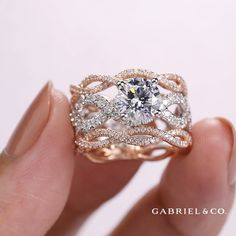 The CALM engagement ring features three dazzling, twisted rows of two tone gold and diamond for otherworldly sparkle! ✨ The CALM style: Cool Wedding Rings, Wedding Jewelry, Or Rose, Rose Gold, Fashion Rings, Ring Designs, Diamond Engagement Rings, Fine Jewelry, Jewellery