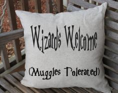 Harry Potter Pillow, Harry Potter Cushion Cover, Wizards, Muggles, Harry Potter Home Decor, Harry Potter Art, Couch Cushion, 18 x 18 cushion