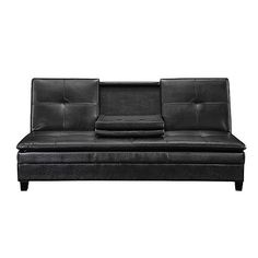 Jaclyn Smith Brown Dylan Faux Leather Futon