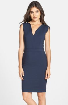 Free shipping and returns on French Connection 'Lolo' Split Neck Sheath Dress at Nordstrom.com. An elegant split neckline is echoed at the petaled cap sleeves of this chic sheath dress designed with a fitted, figure-flattering silhouette.