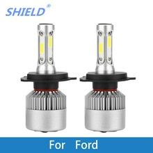 2 Pcs Car Headlight Bulb Led H1 H7 H4 H11 9007 Cob 6500k 8000lm 12v Auto Light For Ford Fiesta Focus Ranger Mondeo Fusion Kuga