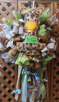 Baby boy wreath hospital door hanger giraffe by HolidayDressings