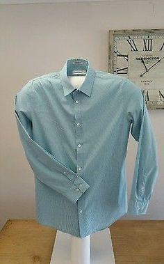 Calvin Klein Long Sleeved Designer Dress Shirt inAqua Size Medium Non Iron
