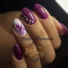 Installation of acrylic or gel nails - My Nails Purple Nail Art, Pink Nails, Glam Nails, Fingernail Designs, Nail Art Designs, Cute Nails, Pretty Nails, Hair And Nails, My Nails
