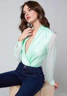 7d35ef08af9 Shop bebe for  Tops - Surplice Bodysuit - Always-chic surplice bodysuit in  a glossy charmeuse that drapes beautifully. Back princess seams shape the  ...