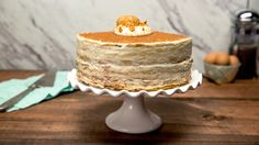 Tiramisu Crepe Cake   Recipe with video instructions: Crêpes replace ladyfingers in this decadent twist on your favorite dessert. www.tastemade.com