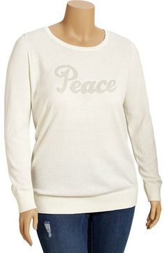 Old Navy Women's Plus Glitter-Graphic Sweaters on shopstyle.com