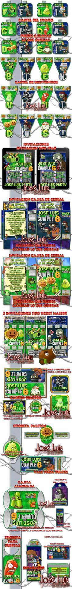 Kit Imprimible 100% Editable Plantas vs Zombies Jose Luis