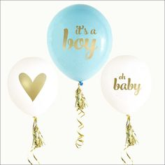 It's a boy! Decorate your baby shower or gender reveal party with blue and gold balloons. Use on your tables, chairs or as photo props to mark your special even