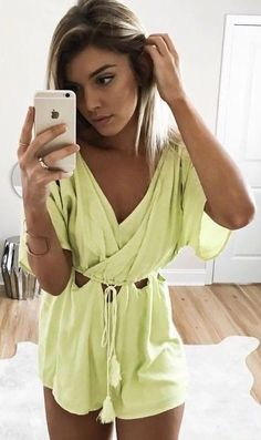 #summer #ultimate #outfits |  Lime Cut Out Playsuit