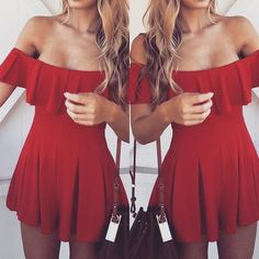 Red for the holidays  Della Ruffle Romper is back! Shop: WWW.LUSHFOX.COM