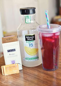 YUM!  DIY Starbucks Shaken Iced Tea Lemonade w/ Passion Fruit Tea My absolute fav is just passion tea with lemon slices rather than the lemonade