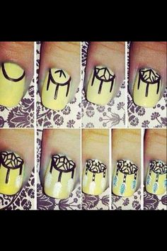 How to make dream catcher nails.
