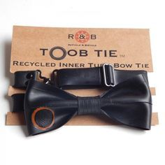 The original British made inner tube bow tie by ReCyle & BiCycle Bicycle Themed Wedding, Pimp Your Bike, Eco Friendly Cleaners, Recycled Bike Parts, Bike Shelf, Bmw E30 M3, Bow Tie Wedding, Bike Art, Cool Items
