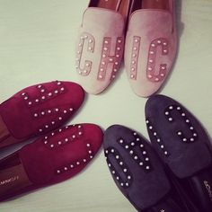 Sneak peek at Rebecca Minkoff's wordy and wonderful pearl flats. They're not out until fall but well worth the wait.