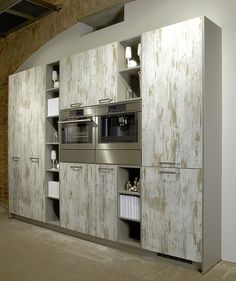 Distressed-paint-urban-kitchen-panty makes extra storage and panty space