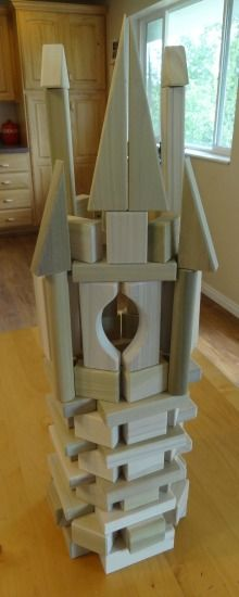 Rapunzels Tower Made From Wooden Blocks Step by step instructions here http://backtoblocks.com/blog/backtoblocks_blog_rapunzels_tower/