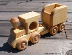 Wooden toy Train Engine & Tender, handcrafted in the USA by DoodleTown Toys. At FineWoodenToys.com.