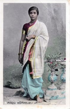 Hindu Woman in Sari, Hand Coloured Postcard - c1910 - Old Indian Photos