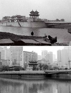 Chengdu, the provincial capital of Sichuan, 1994 (top), 2016 (below)