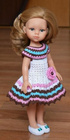 Diy Crafts - VK is the largest European social network with more than 100 million active users. American Girl Outfits, American Doll Clothes, Crochet Dress Girl, Crochet Girls, Crochet Doll Clothes, Knitted Romper, Knitted Dolls, Gowns For Girls, Diy Dress