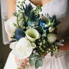 Blue Green and Ivory Bridal Bouquet- blue colour. Might change the blue to purple
