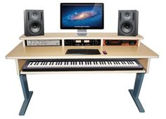 The AZ-2 Maple keyboard studio desk features stunning design as well as a useful 88 keyboard shelf that pulls out.