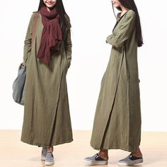 Women cotton linen loose fitting long sleeve maxi dress spring and autumn - buykud - 1