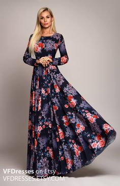 Dark blue Floral maxi dress long sleeve dress summer dress Vestire Formale 4709d2bf3f5