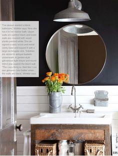 rustic wood bathroom unit round mirror